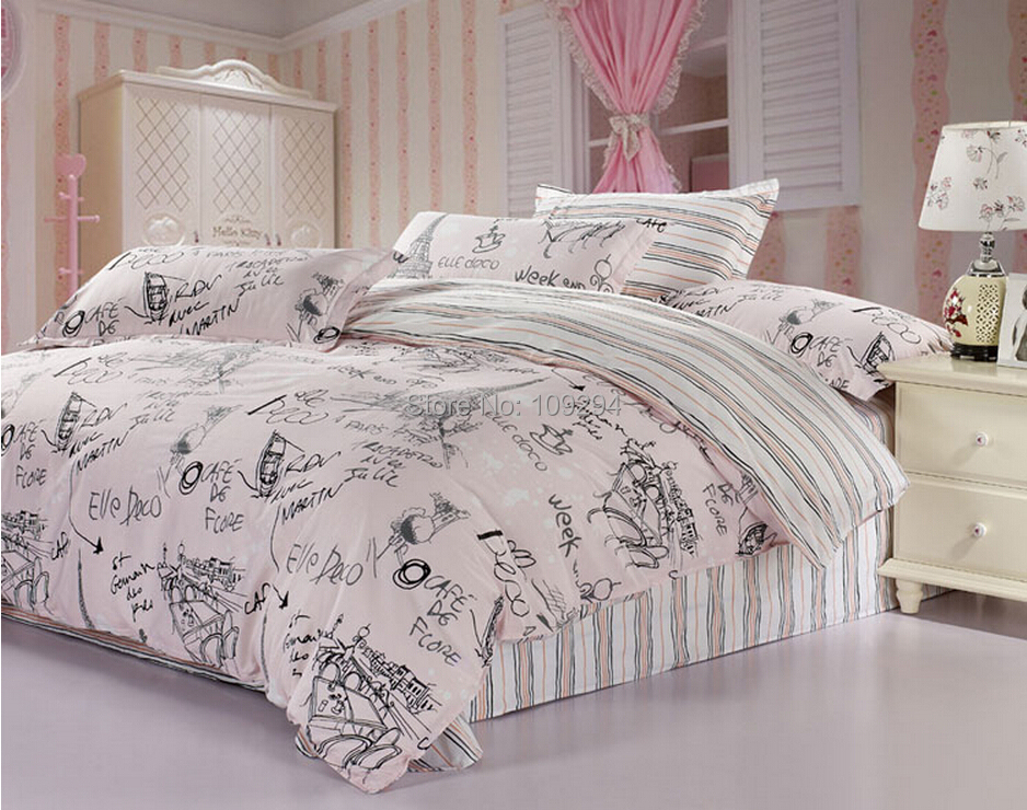 100% Cotton Pink/Gray Scrawl 4pcs Full/Queen Size Bedding