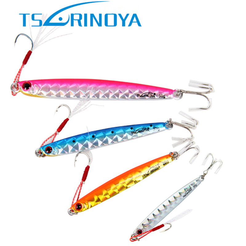 Tsurinoya Fishing Lure 45g 82mm Lead Fish BKK Hook Fishing Bait Casting Lure Metal Spoon Baits Wobbler Fishing Tackle 1pc rugged plastic fish bait casting scoop spoon for food particle fishing tool