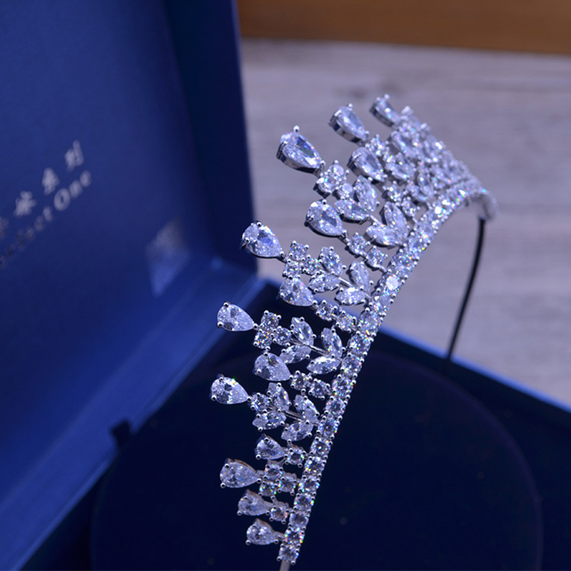 Full AAA CZ Tiara King Crown Wedding Wedding Smycken Micro Pave Party - Märkessmycken - Foto 4