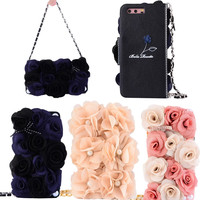 Luxury Pink Beige Rose Peony Cloth Flower Flip Wallet Purse Pearl Handbag Leather Case Cover For
