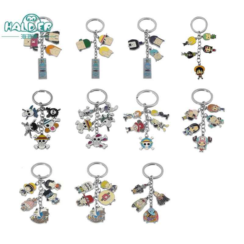 Halder One Piece Skull Alloy Figure Keychain Metal Pendant Color Anime Cartoon Cosplay Keyring Key Ring Chain For Fans wenger sport 6968201408