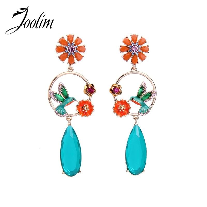 eac11b4a123aa JOOLIM High Quality Enamel Bird Drop Earring Long Floral Dangle Fashion  Earring Wholesale High Quality