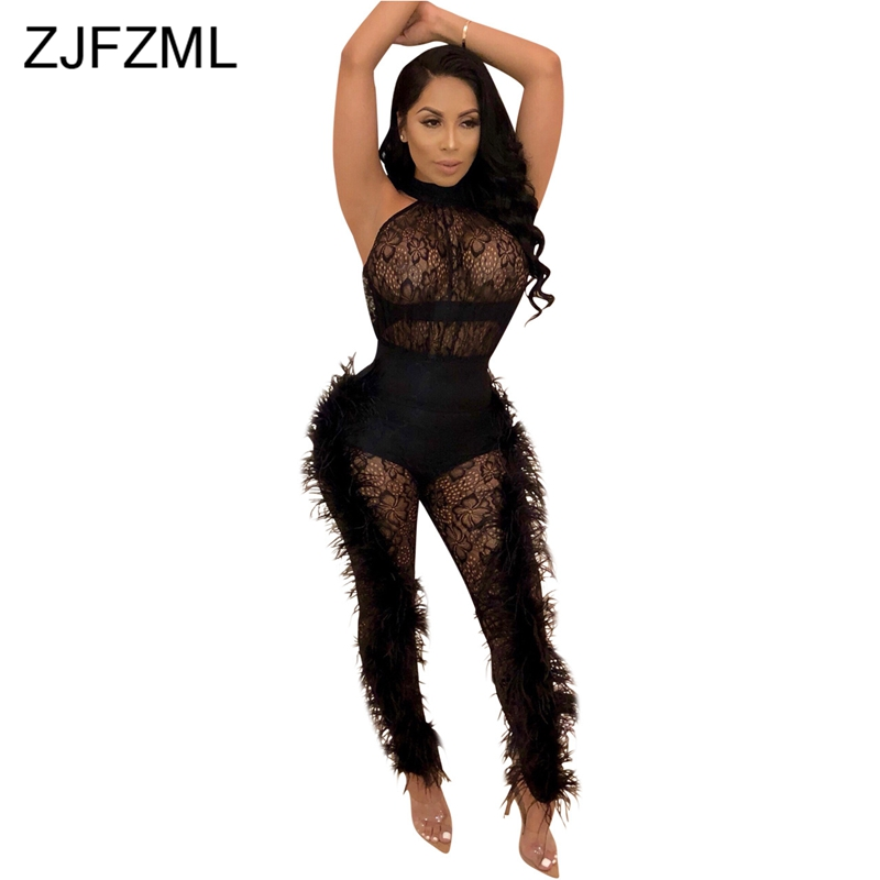 Double Side Feather Sexy Party Jumpsuits Women White Mesh Patchwork See Through Bodysuit Summer Black Hollow Out Bandage Romper