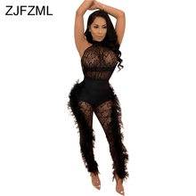 Double Side Feather Sexy Party Jumpsuits Women White Mesh Patchwork See Through Bodysuit Summer Black Hollow Out Bandage Romper цена и фото