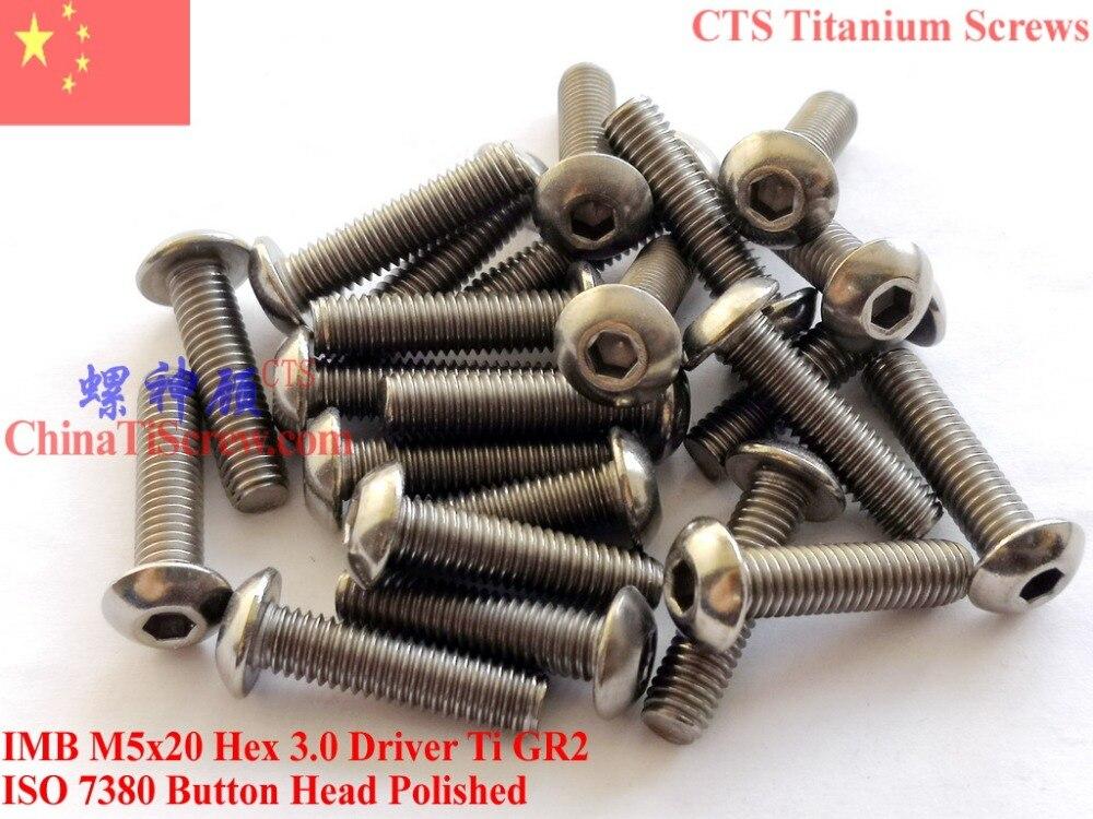 Titanium screws M5x20 ISO 7380 Button Head Hex Driver Polished 10 pcs titanium screw m3x10 iso 7380 button head hex 2 0 driver ti gr2 polished 50 pcs