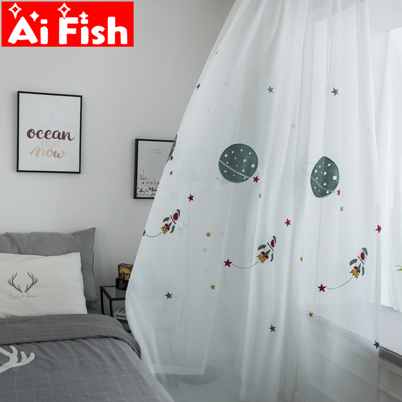 Cartoon Window Treatments Curtains Tulle For Children's Bedroom Embroidery Yarn In Outer Space For Boy's Room Curtains Wp020 -40
