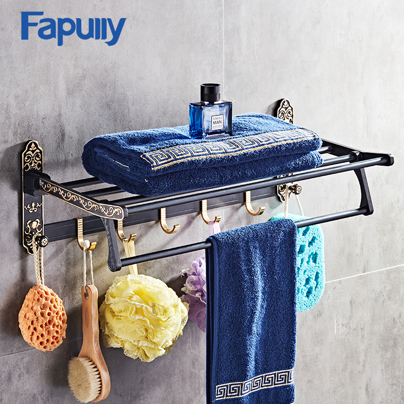 Fapully Bathroom Shelves Black Movable Bath Towel Holder Wall Mounted Double Towel Rails Bars Bathroom Accessories free shipping becola bathroom accessories folding movable bath towel bars surface chome towel racks b 88005
