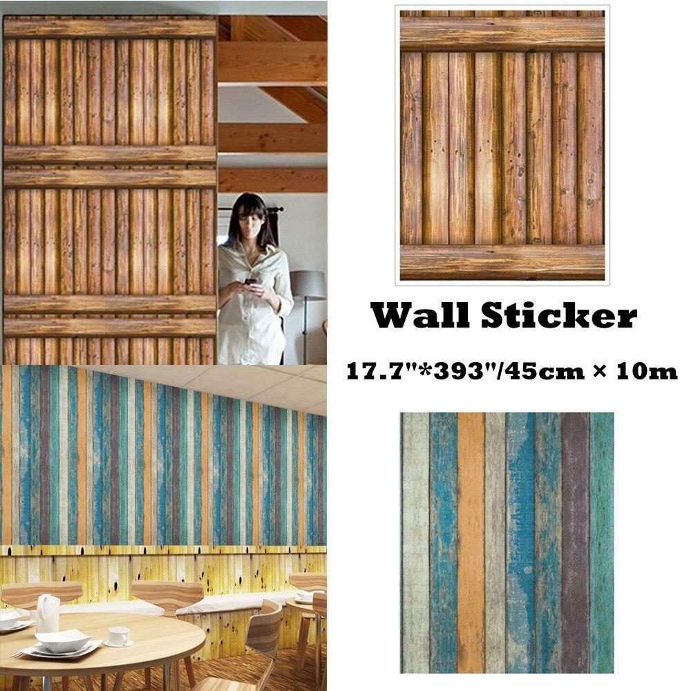 3D Mur Sticke 10 Mètres Brique Bois Rustique Effet Auto-autocollant adhésif mural Hom autcollants muraux décoration d'intérieur salon