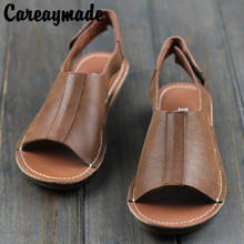 Careaymade-Free shipping,2018 summer new Head layer cowhide retro women shoes, soft leather pure hand-made leisure sandals