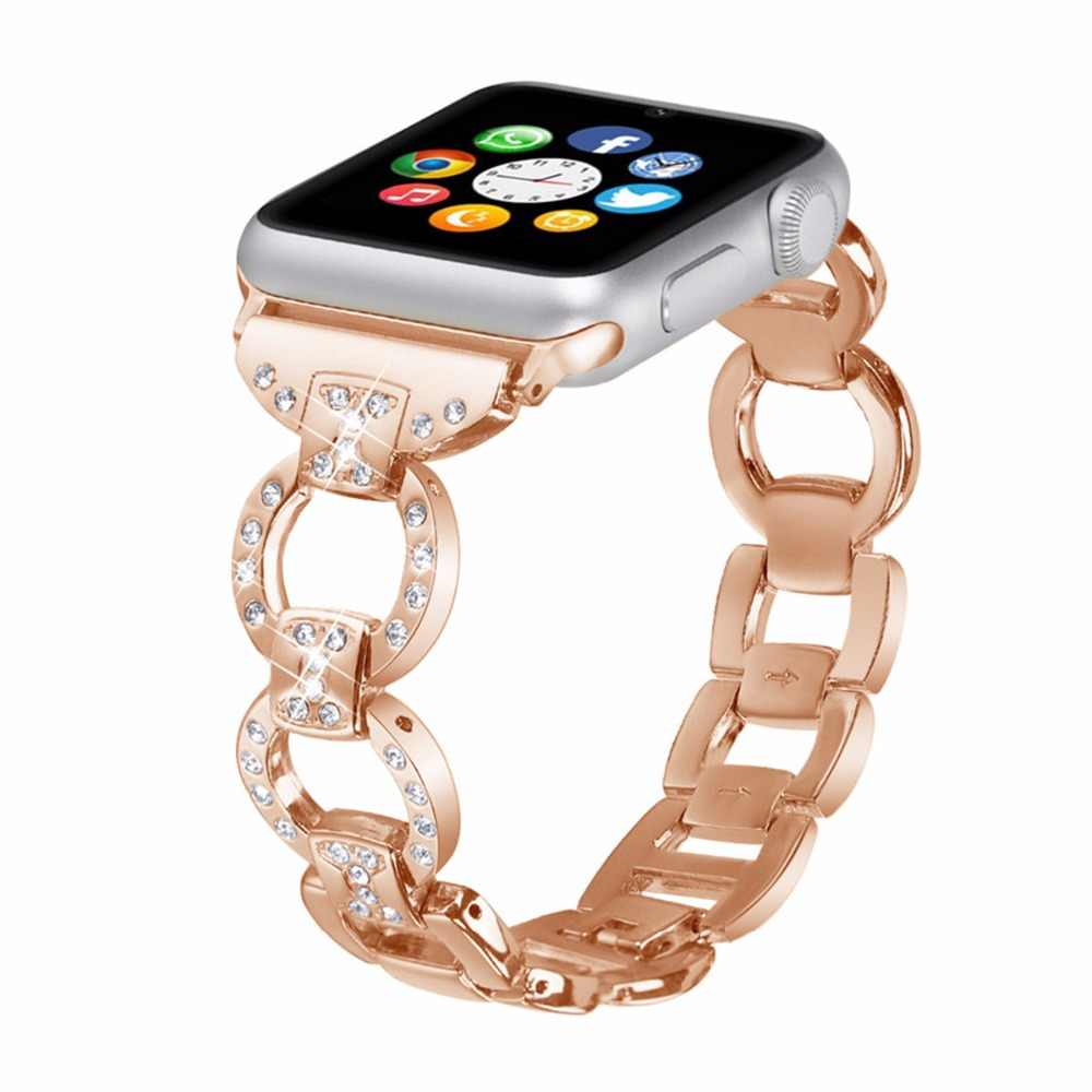 Bling Stainless Steel bracelet For Apple Watch band strap 42mm/38mm iwatch 3 2 1 band luxury Diamond+metal wrist belt watchband