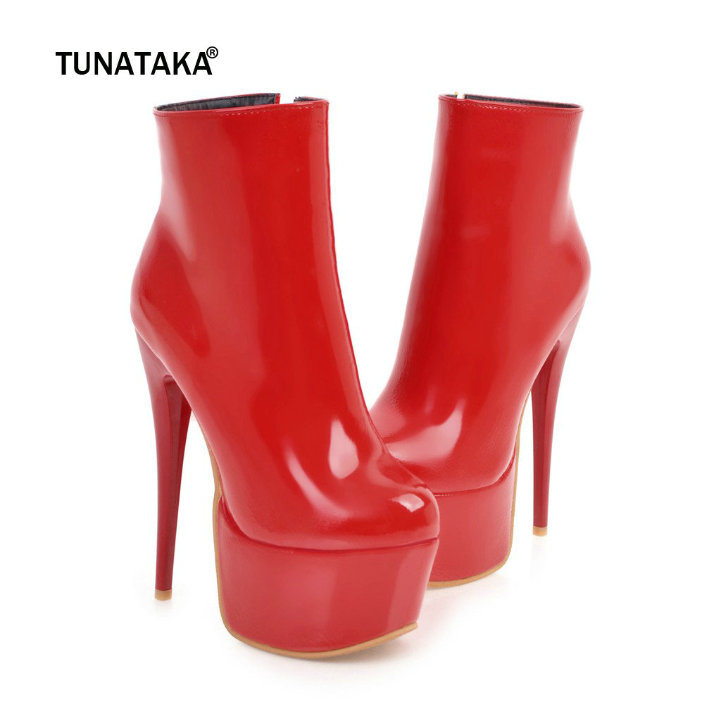 Women Platform Boots 15 5cm Sexy Thin High Heels Ankle Boots Fashion Patent Leather Zipper Autumn