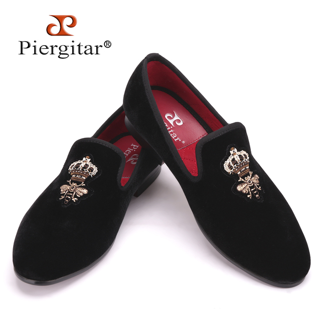 Piergitar Bees Indian silk embroidery men velvet shoes fashion Men Loafers wedding and party male shoe Men Flats Size US 4-17