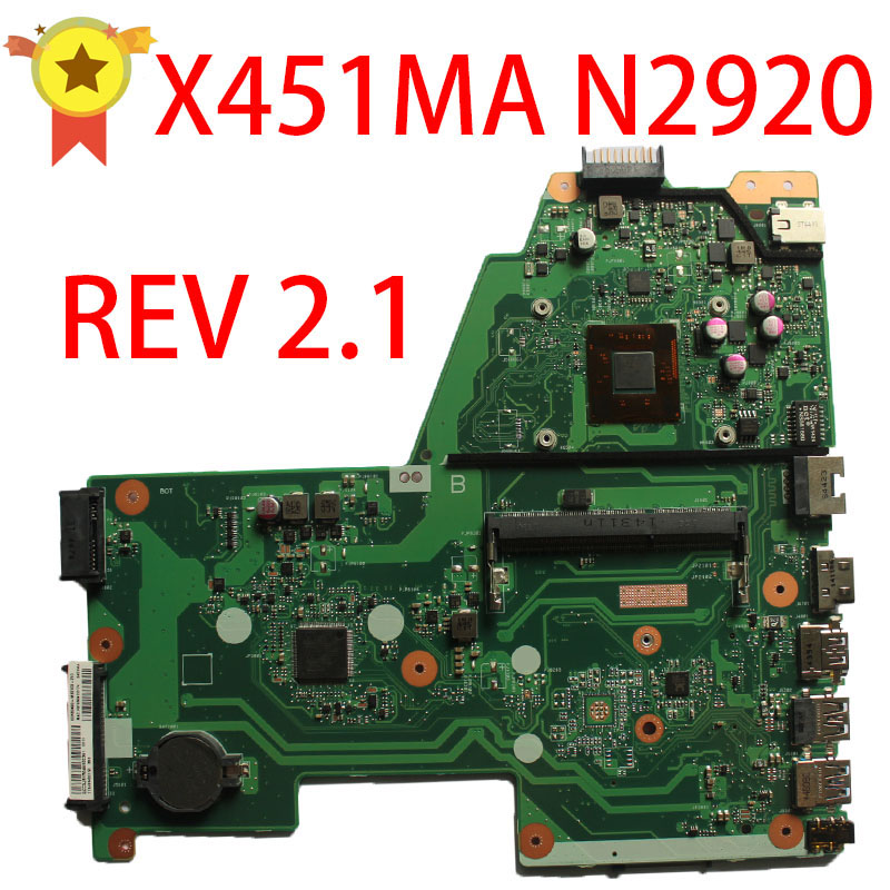 SAMXINNO For asus X451MA Laptop motherboard mainboard REV2.1 N2920 CPU 100% tested for asus n61ja rev 2 0 2 1 laptop motherboard mainboard n61jq n61ja i5 cpu or i 7 cpu 100% tested