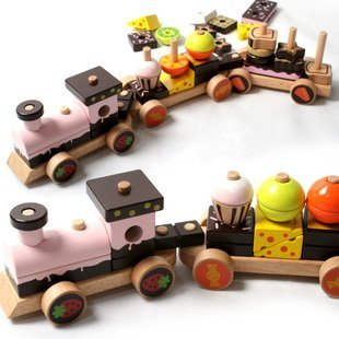 Candice guo wooden toy wood block building model assemble children educational carries Chocolate cake train birthday gift set kids children wooden block toy gift wooden colorful tree marble ball run track game children educational learning preschool toy