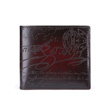 TERSE_Handmade luxury short wallet mens purse Italian calfskin genuine leather bag with calligraphy 4 colors in stock