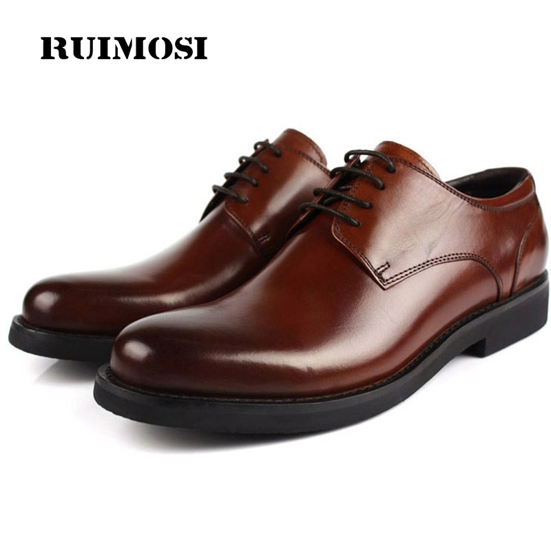 RUIMOSI Formal Man Flat Platform Dress Shoes Genuine Leather Designer Oxfords Luxury Brand Men's Bridal Wedding Footwear FG13