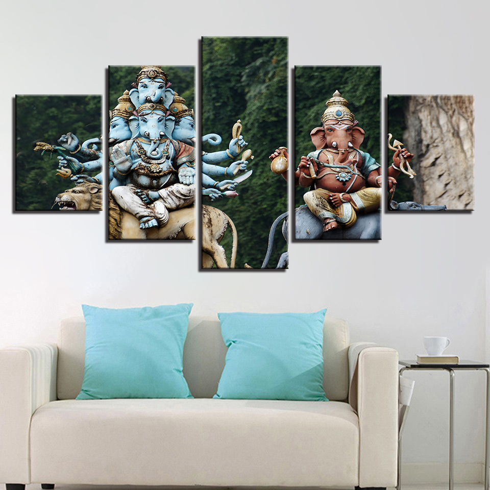 HD Printed Modern Living Room Wall 5 Panel Ganesha Home Decor Art Painting Modular Pictures Canvas