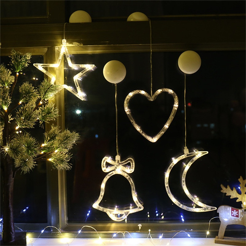 Led Christmas Decoration Lamps Battery Power Decors For Window Glass Sucker Lights Christmas Deer Bell Star Snowman Santa Claus