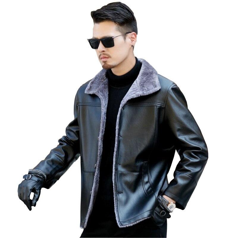 Nouvelle mode homme fourrure un hommes plus velours épais en cuir veste en cuir manteau hommes hiver épaissir vestes en cuir synthétique polyuréthane et parka