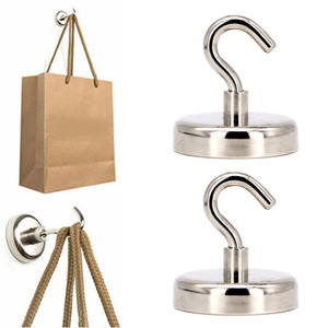 Image 2 - 2 Pcs Magnetic Hooks Power Hook Magnet Holder Super Heavy Neodymium Rare Earth 75kg Suction For Cup Key 2019