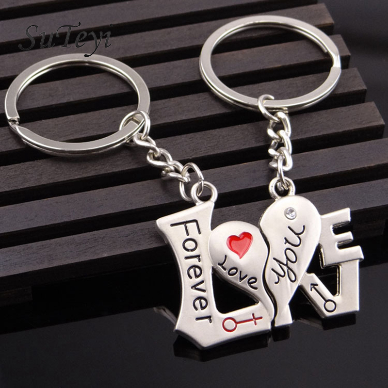 SUTEYI 1 Pair Couple Heart-shaped Keychain Keyring Keyfob Daylover ring Valentine's Day romantic gift free shipping spoon fork shaped keychain with smile expression silver pair