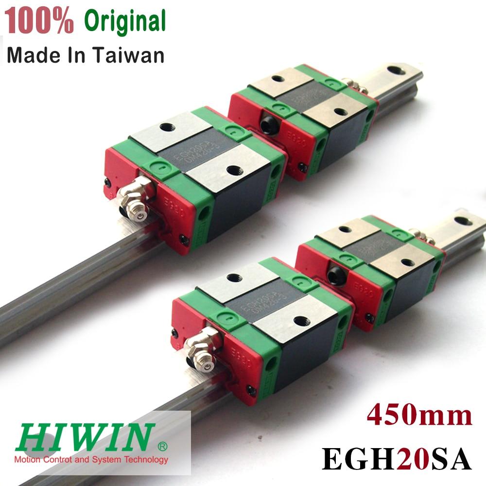HIWIN 4pcs EGW20SA guide block and 2pcs 450mm linear rail EGW20 SA CNC partsHIWIN 4pcs EGW20SA guide block and 2pcs 450mm linear rail EGW20 SA CNC parts