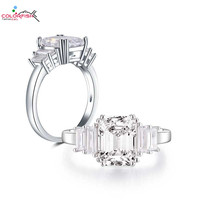 COLORFISH Square Cut 2.5 Carat Five Stone Engagement Ring Classic Jewelry For Women 925 Sterling Silver Fashion Baguette Ring