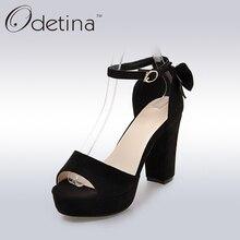 Odetina Verano Zapatos de tacón alto Peep Toe Mujeres Sandalias de Plataforma 2017 Negro Señoras Correa Del Tobillo Del Ante de Tacón Cuadrado Bombas más Tamaño