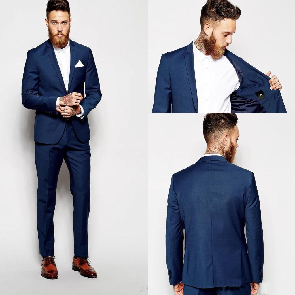 Custom Made Groom Tuxedos Groomsmen Dark Blue Vent Slim Suits Fit Best Man Suit Wedding Men's Suits Bridegroom Groom Wear (Jacke