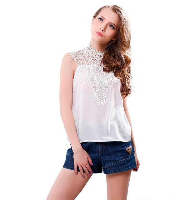 20629f3b9 Moda feminina Branca sem mangas de renda sem encosto blusas femininas  artigo camisas camisas femininas festa