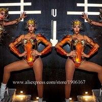 Gold Color Robot Armor Stage Dance Costumes Model Dress Wears Female Rivet Outfits Helmet Show Bodysuit DJ DS Clothes Party Bra