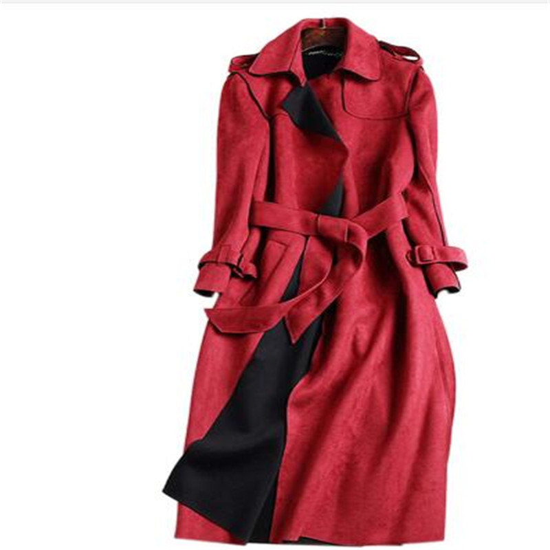 2018 New Autumn Suede   Trench   Coat Women Abrigo Mujer Long Elegant Outwear Female Overcoat Slim Red Suede Cardigan   Trench