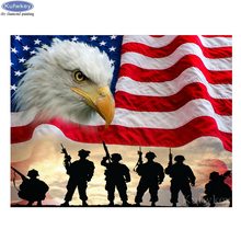 Full square drill diamond embroidery pattern 5D Soldiers Flag American Eagle painting cross stitch mosaic home decor