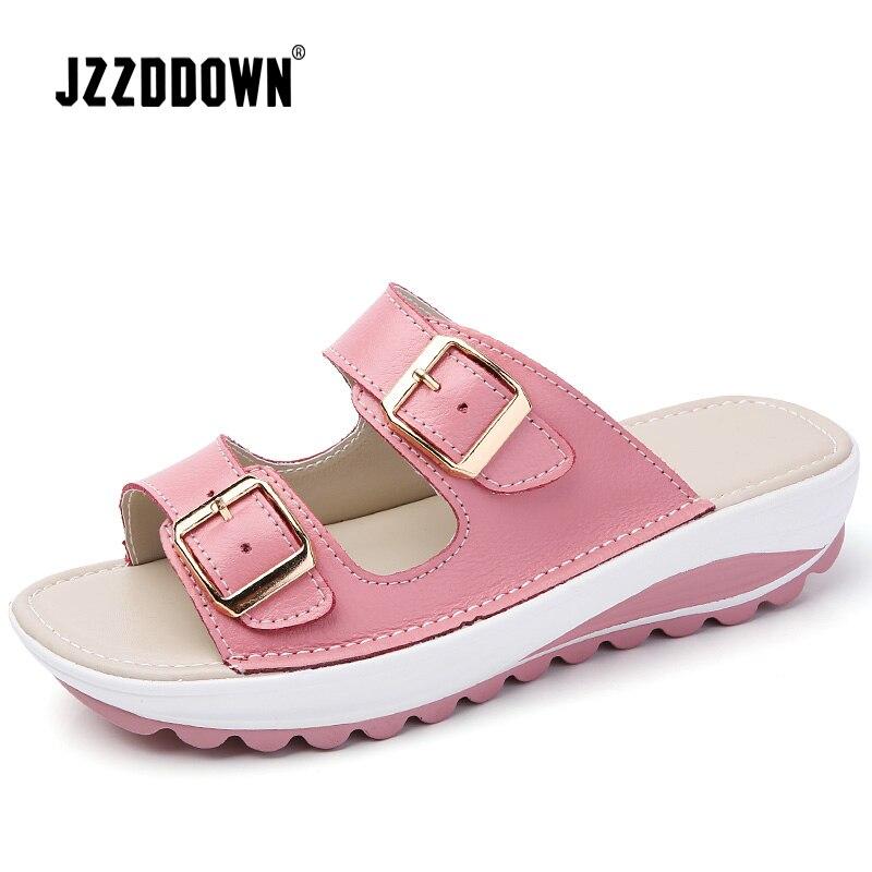 Genuine Leather Women's flat Beach Sandals Shoes Ladies Summer Platform Slippers gladiator Casual Female Flip Flops Shoes