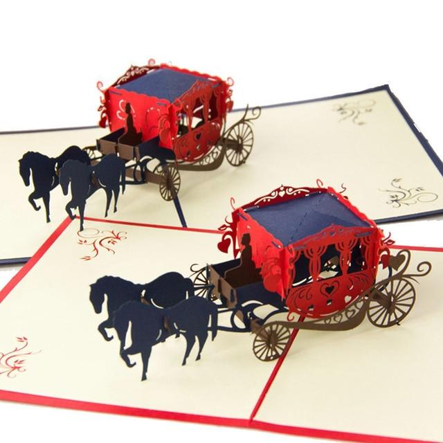 Lustige 3D Papier Laser Cut Carving Pferdekutsche Postkarten Grußkarten  Hochzeit Einladungskarte Valentinstag Geschenk 2018