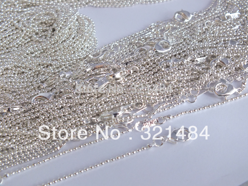 100piece lot 16 18 20 22 24 inch can pick silver plated 1 5mm ball bead