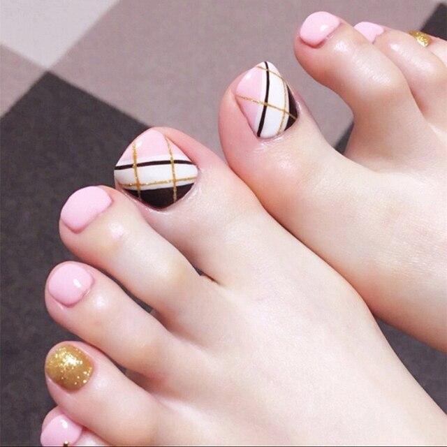 Simple 24pcsset Fashion Pinkwhiteblack Gold Line Design Finished