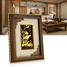 3D Chinese Framed pictures 24K Gold foil painting Poster Wall art pictures for Living room Luxury Crafts Home decoration Gifts(China)