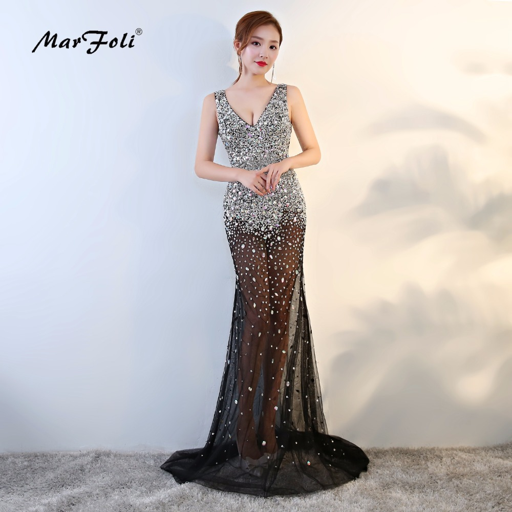 MarFoli Luxury Crystal Floor-Length Full manual Sexy Star   dress   Evening   dress     Cocktail     dress   Tulle Illusion prom Gown LF0122
