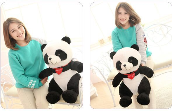 middle size plush panda toy lovely sitting panda doll with red heart soft toy gift about 50cm 0342 110cm cute panda plush toy panda doll big size pillow birthday gift high quality