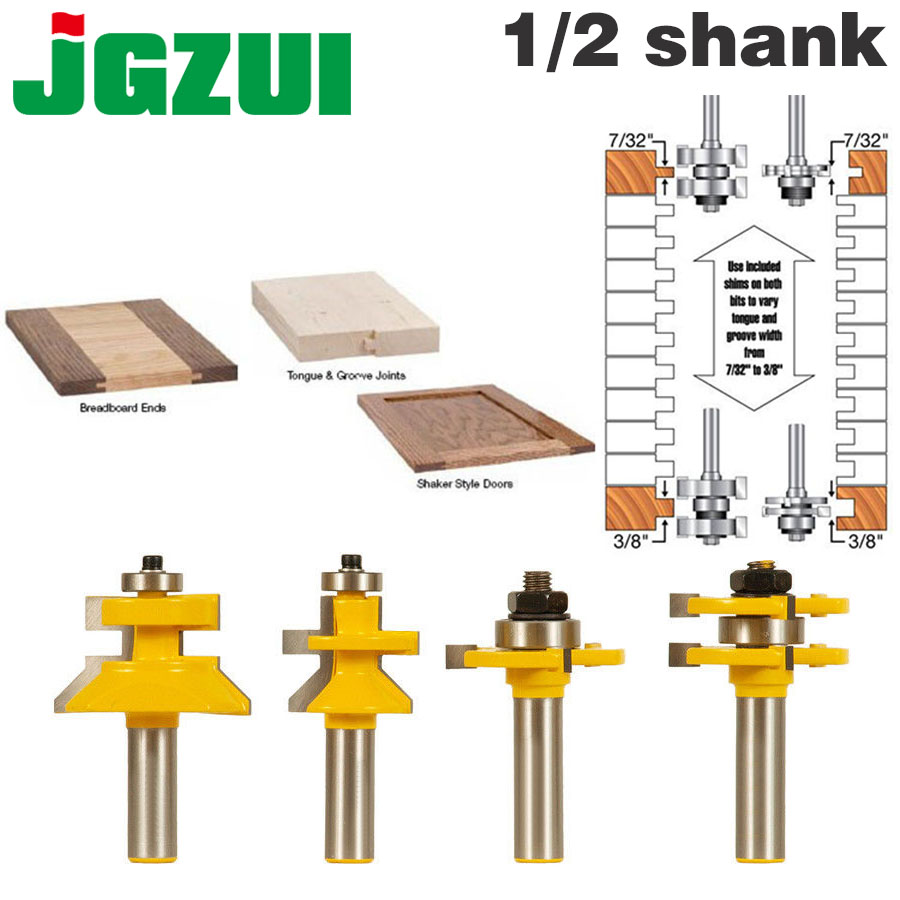 """4 Bit Tongue & Groove and V-notch Router Bit Set - 1/2"""" 12Shank Line knife Woodworking cutter Tenon Cutter for Woodworking Tools"""