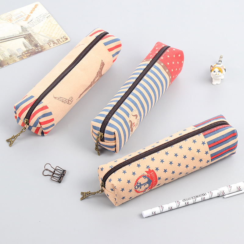 Retro Pencil Case canvas School Supplies Bts Stationery Gift Estuches School Pencil Box Pencilcase Pencil Bag