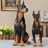 Simulation Doberman Pinscher European Style Hound Dog Colophony Crafts Sculpture Home Decoration G1064