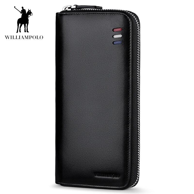 купить 2018 New Fashion Wallet!Hot Sale!Famous WILLIAMPOLO Luxury 100% Leather Fashion Clutch Bag Zipper Men Wallet POLO273 онлайн