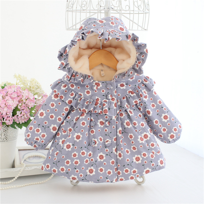 infant clothes 2018 autumn winter new baby coat cute print hooded Thick jacket fashion short coat baby girl winter for 0-2 age kids winter clothes age for 2 8 years girl clothes thick warm baby pullover 2018 new autumn cute bow sweater back to school tops