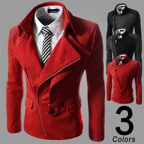 Autumn/winter 2016  fashion fit  Men's leisure slim inclined zipper cloth coat / male casual Stitching jacket 14JK47 M-XXL