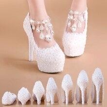 Beyaz Dantel ve Inci Boncuklu Düğün Ayakkabı Süper Yüksek Topuk Platformu ile Slip on Yuvarlak Ayak Parti Ziyafet için gelinlik
