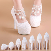 White Lace and Pearl Beaded Wedding Shoes Super High Heel with Platform Slip on Round Toe for Party Banquet Bridesmaid