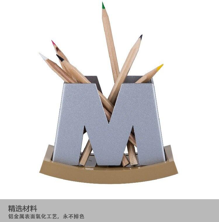 Conception de brevet, vente chaude en alliage d'aluminium porte-stylo bureau boîtes de bureau W/M deux styles peuvent être choisis