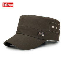 UNIKEVOW Solid military cap Patchwork Flat top Hat for men and women Outdoor high quality hat with iron logo